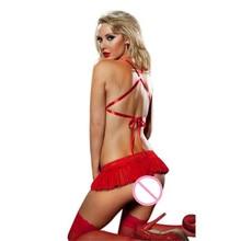 Wonderful Women Sexy Holiday Lingerie Red Lace Bra Top Mini Skirt Set G-string Jan 17