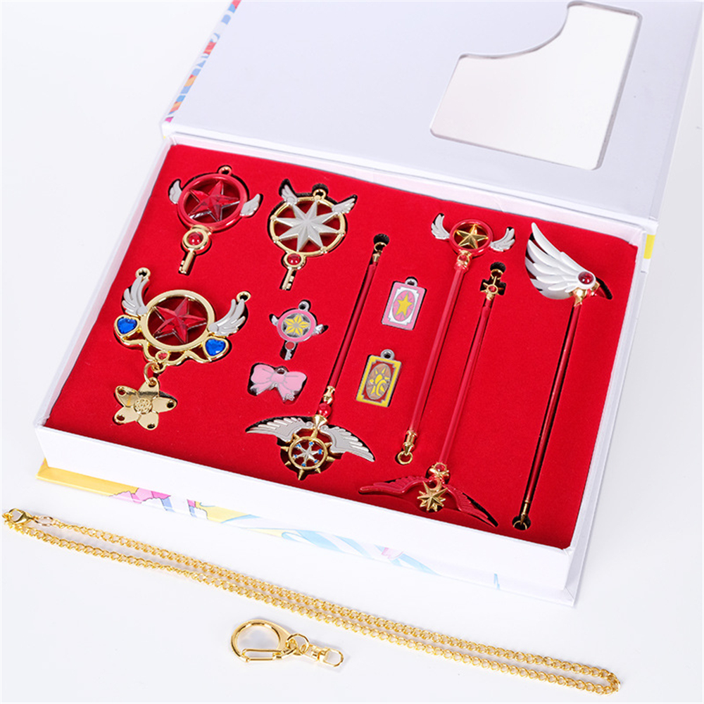 Cardcaptor Sakura Clow Card Magic Wand Cerberus Pendant Necklace Keychain Props Gift Cosplay 11Pcs/Set