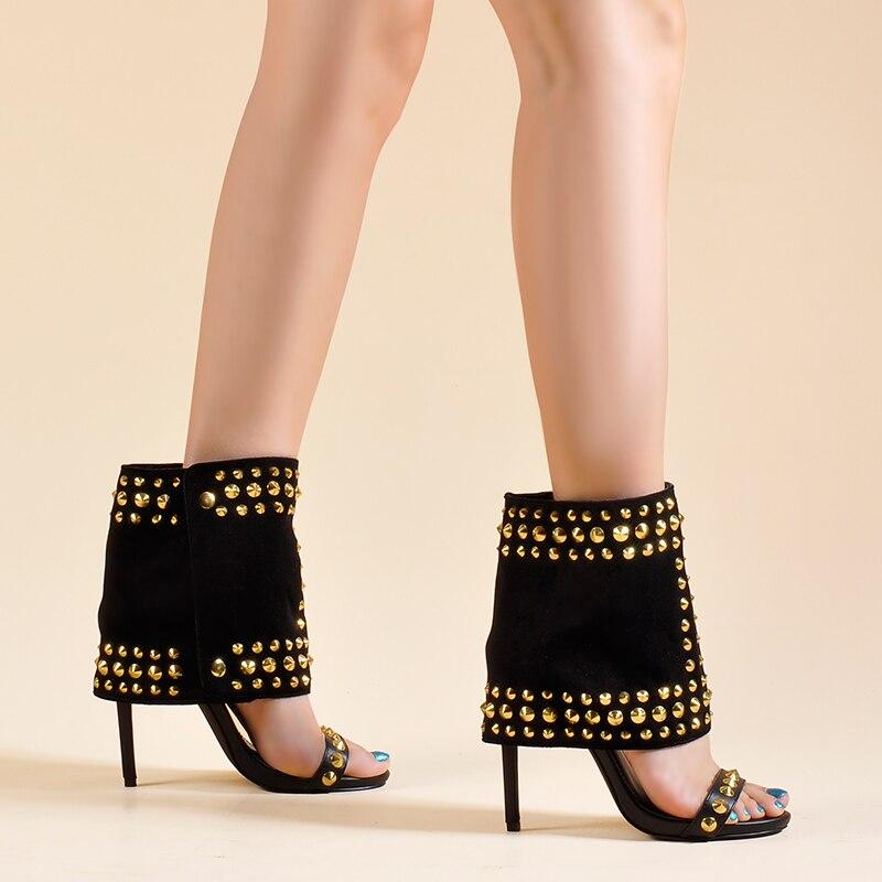 As Palmas Das Mãos de rosa Sapatos Femininos Sandálias e Eixo de Duas Peças Definir sapatos De salto Alto com Rebites Moda Venda Quente Paixão Das Mulheres Tornozelo sandálias Botas - 3