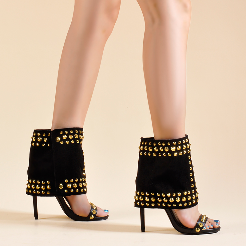 Pink Palms Shoes Women Sandals and Shaft Two Pieces Set High heels with Trendy Rivets Hot Sale Passion Women Ankle Sandals Boots - 3