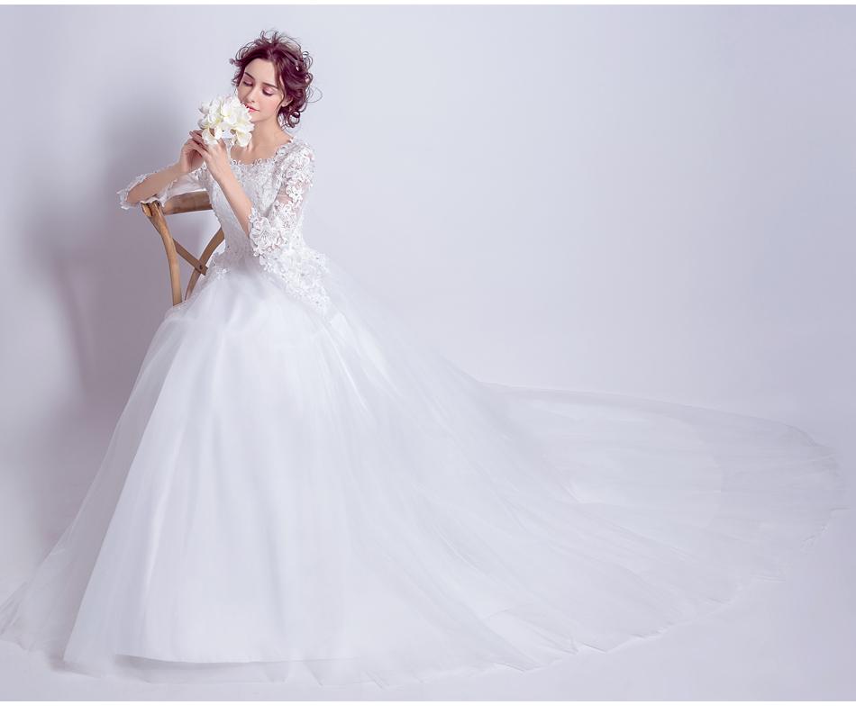 Angel Wedding Dress Marriage Bride Bridal Gown Vestido De Noiva 2017 Boat Neck horn sleeve, big tail 6910 14