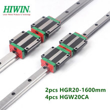 Carriage Bearings Flanged HIWIN Block for CNC Hgr20-1600mm-Guide 4pcs 2pcs Linear-Rail