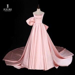 Image 1 - Chérie rose a ligne robe de soirée sans manches avec grand arc balayage Train Satin bretelles robe de bal robe de soirée 2019