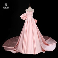 Sweetheart Pink A Line Sleeveless Evening Dress with Big Bow Sweep Train Satin Strapless Prom dress robe de soiree 2019