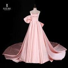 Sweetheart Roze A lijn Mouwloze Avondjurk met Grote Boog Sweep Trein Satijn Strapless Prom dress robe de soiree 2019