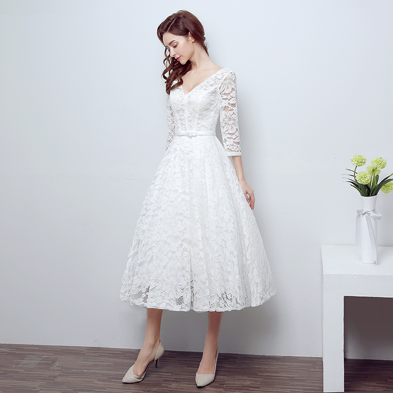 Wintty High Quality Ivory White Vintage Strapless Lace Tea Length ...