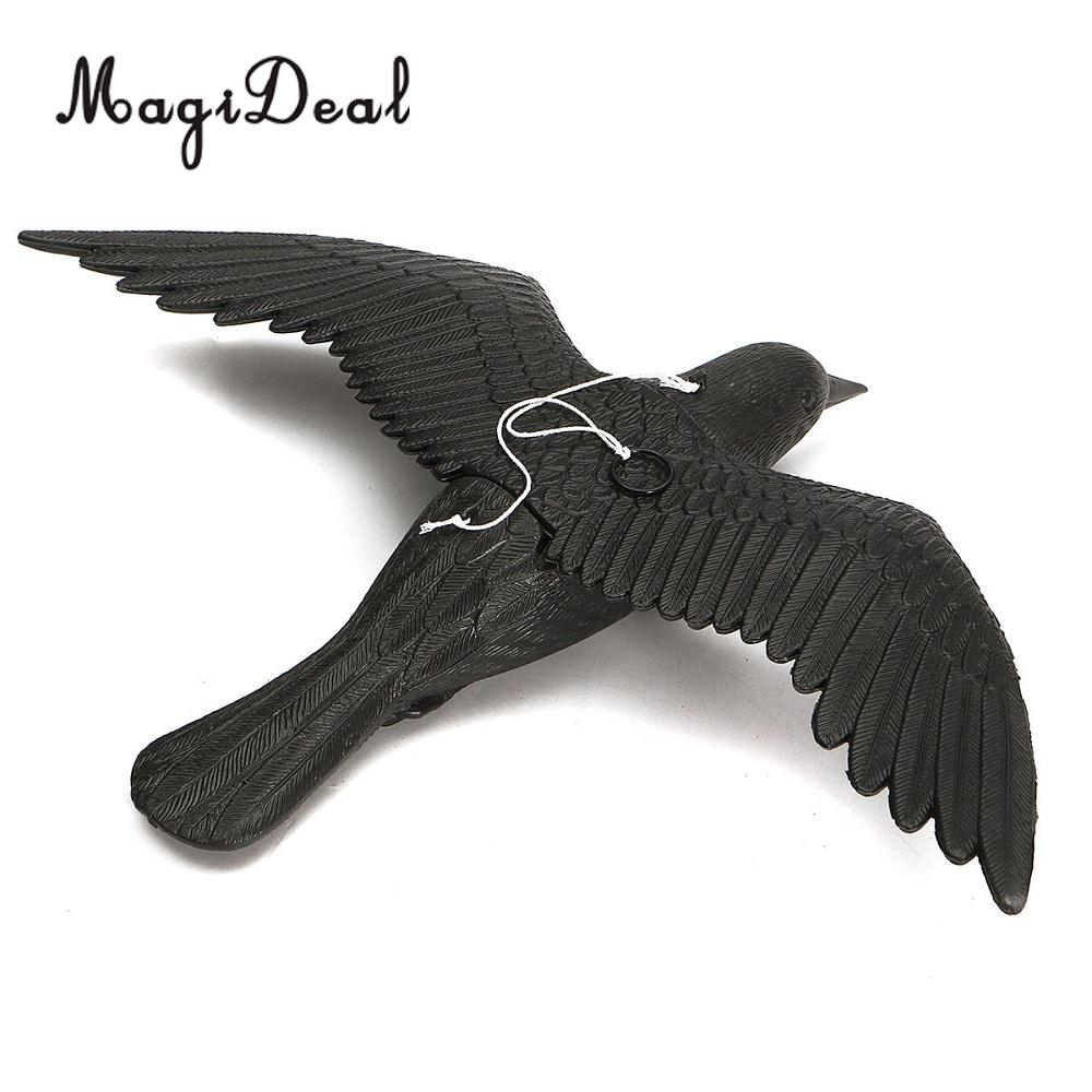 MagiDeal Heavy Duty Realistic Flying Hunting Crow Decoy Pest Control Garden Scarer Scarecrow for Home Window Field Shooting Acce
