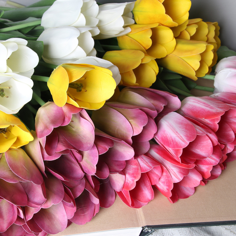 >1 Pcs Netherlands Tulip Artificial Flower Real Touch Fake Flower For Home Decor Wedding Decor Fake Silk Tulip <font><b>Farmhouse</b></font> <font><b>Style</b></font>