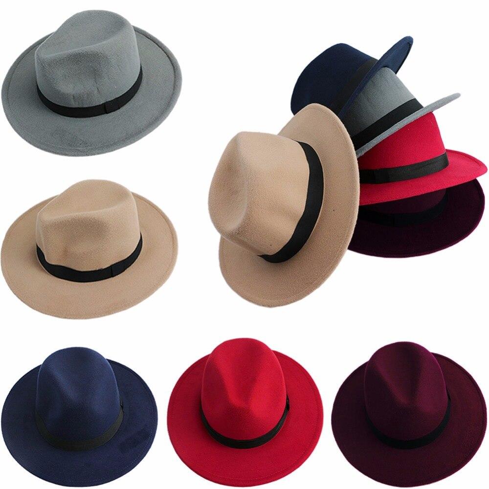 Sombrero Fedora para adultos de lana suave de ala ancha sombrero de  invierno Sombreros de fieltro 5c815cb1bc78