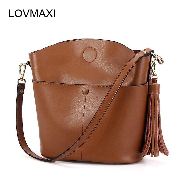 LOVMAXI New Arrival Genuine Leather Women Tassel Bags 2017 Ladies Handbag Shell Cross Body Bag Shoulder Tote Fashion hot fashion chinese style women handbag embroidery ethnic summer fashion handmade flowers ladies tote shoulder bags cross body