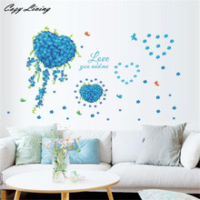 Wall Stickers 1PC Romantic Love Something Blue Wall Decals Butterfly Heart Stickers Art Removable Wallpaper Home Decor D9