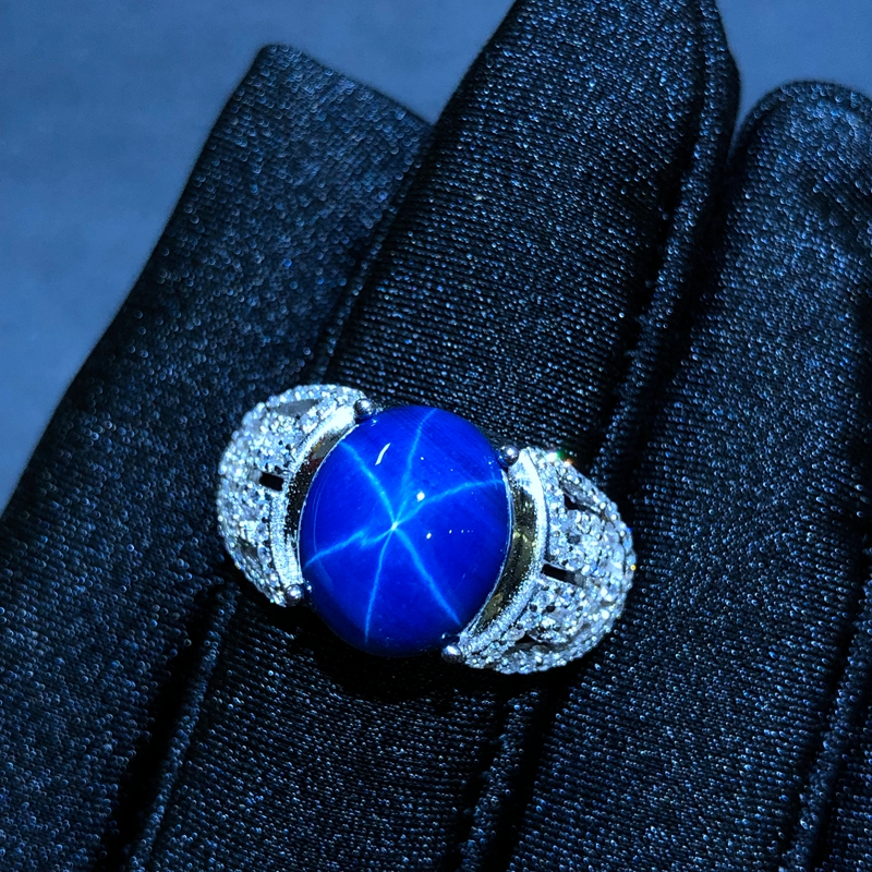Starlight Sapphire Ring Classic 925 Pure Silver Star Line Beautiful Mail Packing