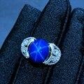 Звездный сапфир кольцо, Классический 925 чистого серебра Звезда линии красивая упаковка почты