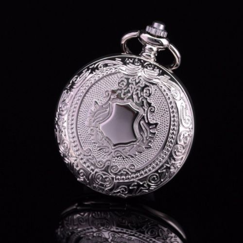 Silver Tone Case Classic Retro Mens Automatic Self-wing Skeleton Roman Number Dial Pocket Watch W/chain Relogio De Bolso