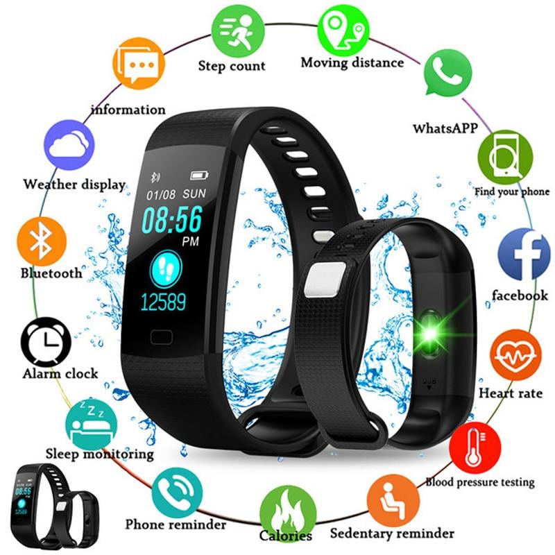 Y5 pulseira inteligente relógio do esporte das mulheres dos homens freqüência cardíaca rastreador de fitness pressão arterial relógio tela colorida atividade rastreador pulso banda