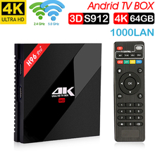 лучшая цена H96 PRO + Plus Smart TV Box Amlogic S912 Octa Mali-T820MP3 GPU 3G/ 64G Android 7,1 de 2,4g/5,8 GHz Wifi Bluetooth Set TOP BOX
