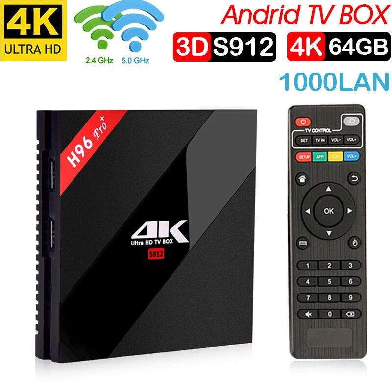 H96 PRO + Plus Smart TV Box Amlogic S912 Octa Mali-T820MP3 GPU 3G/64G Android 7,1 de 2,4g/5,8 GHz Wifi Bluetooth décodeur
