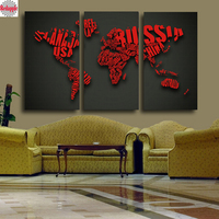 5D Diamond Embroidery 3 PCS World Map Red Wall Painting Full Square round Mosaic 3d Diamond Painting Cross Stitch abstract decor