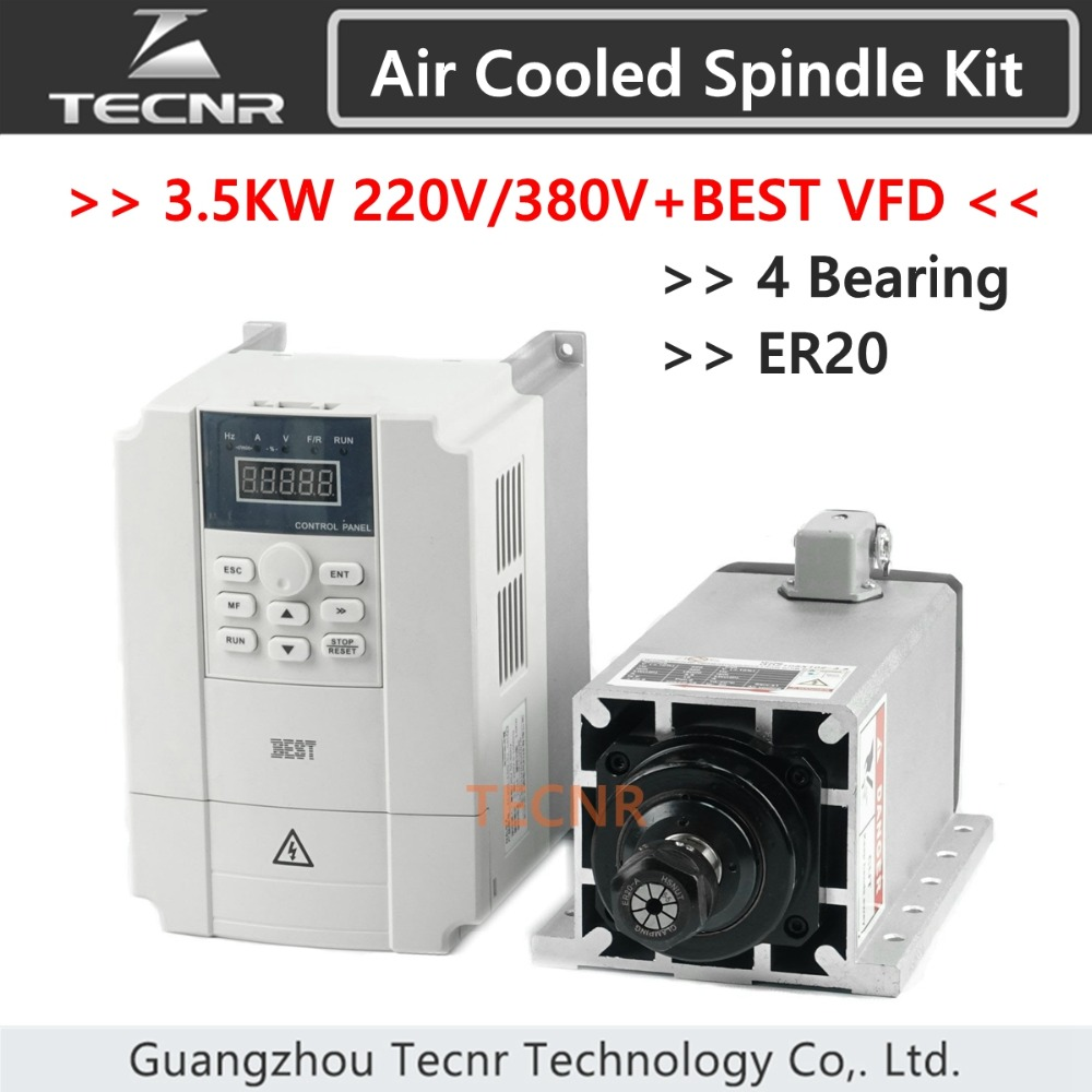 3.5kw 220V 380V air cooled spindle motor kit ER20 Ceramic 4 Bearings and 4KW VFD Frequency Inverter high quality ceramic bearings 3 5kw 380v air cooled spindle motor er20 and 4kw vfd inverter