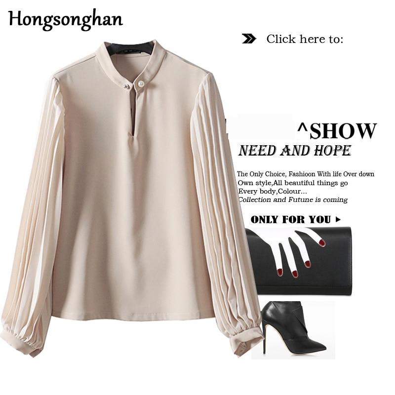 Hongsonghan summer basic Chic Shirt Design Sense Korea style display thin stand collar Pleated lantern sleeve Chiffon shirts
