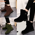 Alta qualidade Mulheres Inverno Martin Sapatos Botas Botas de Neve Quente Botas de Tornozelo Fivela Jogo Sólido