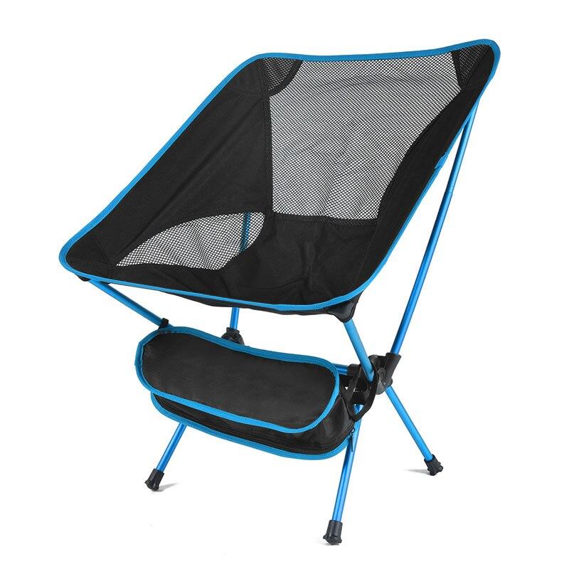 Портативный складной стул для рыбалки Кемпинг барбекю инструмент дышащий походный стул мебель сад Сверхлегкий Открытый компактный стул для рыбалки - Цвет: Sky blue