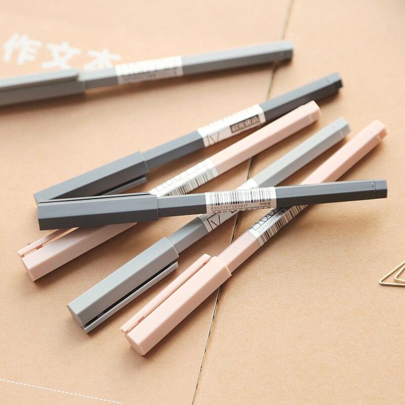 12PCS M&G Simple Solid Hexagonal Rod Gel Pen Black Signing Pen Students Pen 0.5mm