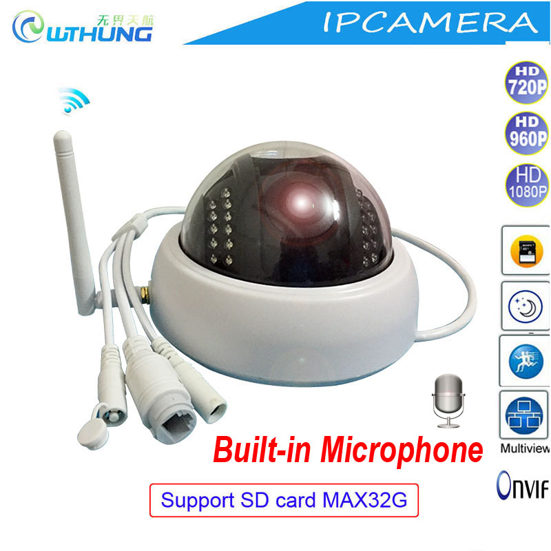 Wireless wired IP dome camera 720P 960P 1080P CMOS Sensor Support SD card Microphone Onvif P2P motion detector for Home monitor ccdcam ec ip2541w m jpeg image compression wireless wired ip camerawireless wired ip camera