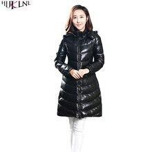 658f3b9d7f5cb 2019 для женщин зимняя куртка пуховик с длинным Мех животных пальто  капюшоном винтажная одежда тонкий черный