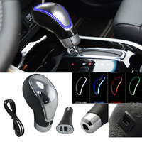 Universal RGB 7 Color USB Charge LED Gear Shift Knob Gear Stick Knobs with beautiful led light Touch motion activated