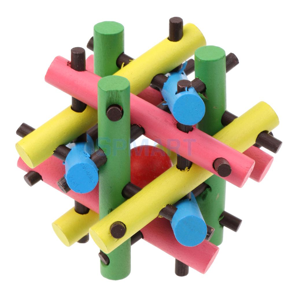 Classical Wooden Intelligence Toy Brain Teaser Game Burr Puzzle Take out the Red Ball Wo ...