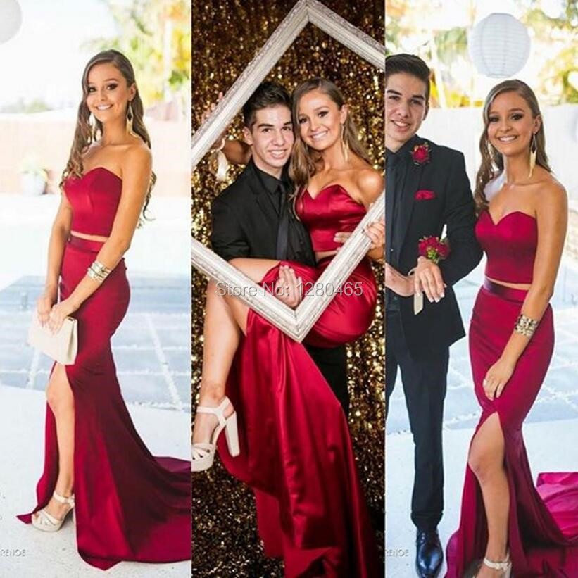 b7ea896160c3 Elegant Long Burgundy Two Piece Prom Dresses Sexy Side Slit 2 Piece Prom  Dresses Evening Dress Ballkleider-in Prom Dresses from Weddings & Events on  ...