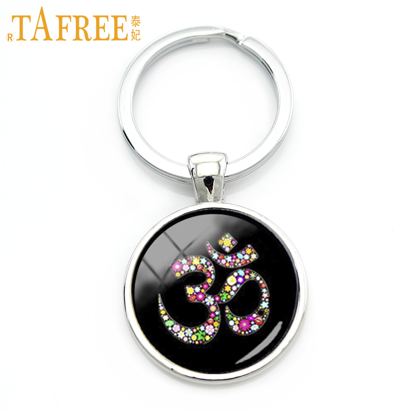 TAFREE Om Ohm Aum Namaste Yoga Symbol key chain charming colorful om logo keychain pretty Indian style women jewelry gift KC481