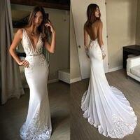 U SWEAR 2019 Sexy Deep V Neck Mermaid Wedding Dresses Lace Appliques Backless Sleeveless Bridal Gowns Custom Boho Beach