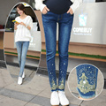 Fashion Rhinestones Denim Maternity Skinny Jeans Belly Pants Clothes for Pregnant Women Autumn Pregnancy Pencil Trousers B48