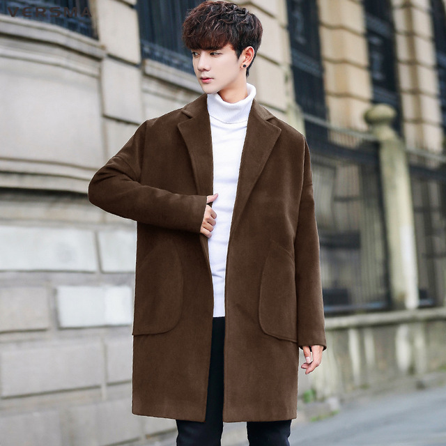023ee9d9927 VERSMA Korean Casual Fashion Loose BF Green Wool Long Pea Coat Men Winter  Vintage Style Clothing ...