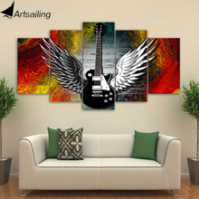 ArtSailing HD print 5 piece canvas art Music Guitar home decoration accessories modern picture for living room CU-3291C