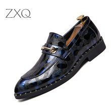Pointed Toe Mens Dress Shoes Patent Leather Luxury Wedding Floral Print Men Flats Office Party Formal
