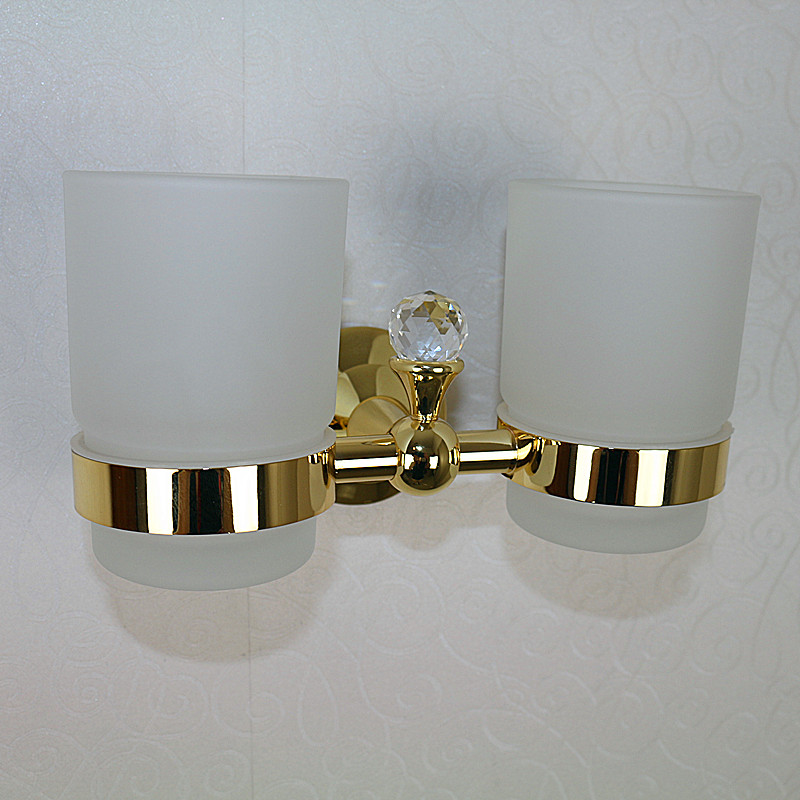 Antique double cup holder Gold toothbrush holder bathroom accessories image