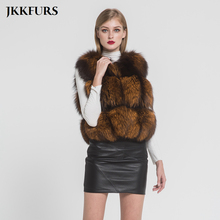 JKKFURS New Arrivals Womens Silver Fox Fur Vest Real Gilet Fashion Style Lady Winter Warm Waistcoat Top Quality S7382