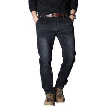 2019 Autumn Winter New Men's Brand Jeans Loose Straight Elastic Anti-theft Zipper Denim Pants Male Big Size 40 42 44 46 48 1