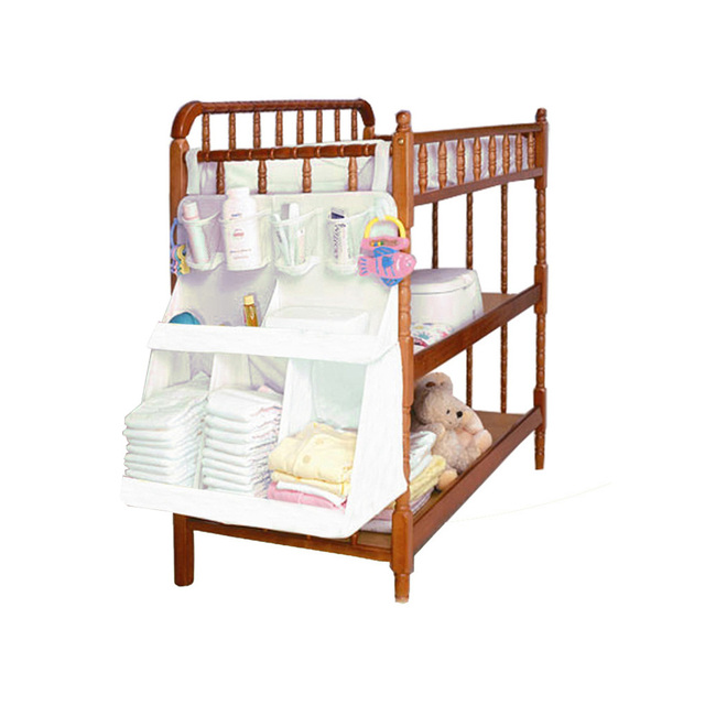 Baby Waterproof Diapers Organizer Newborn Nursery Bedside Bed Storage Bag Infant Crib Cradle Clothes Container Holder