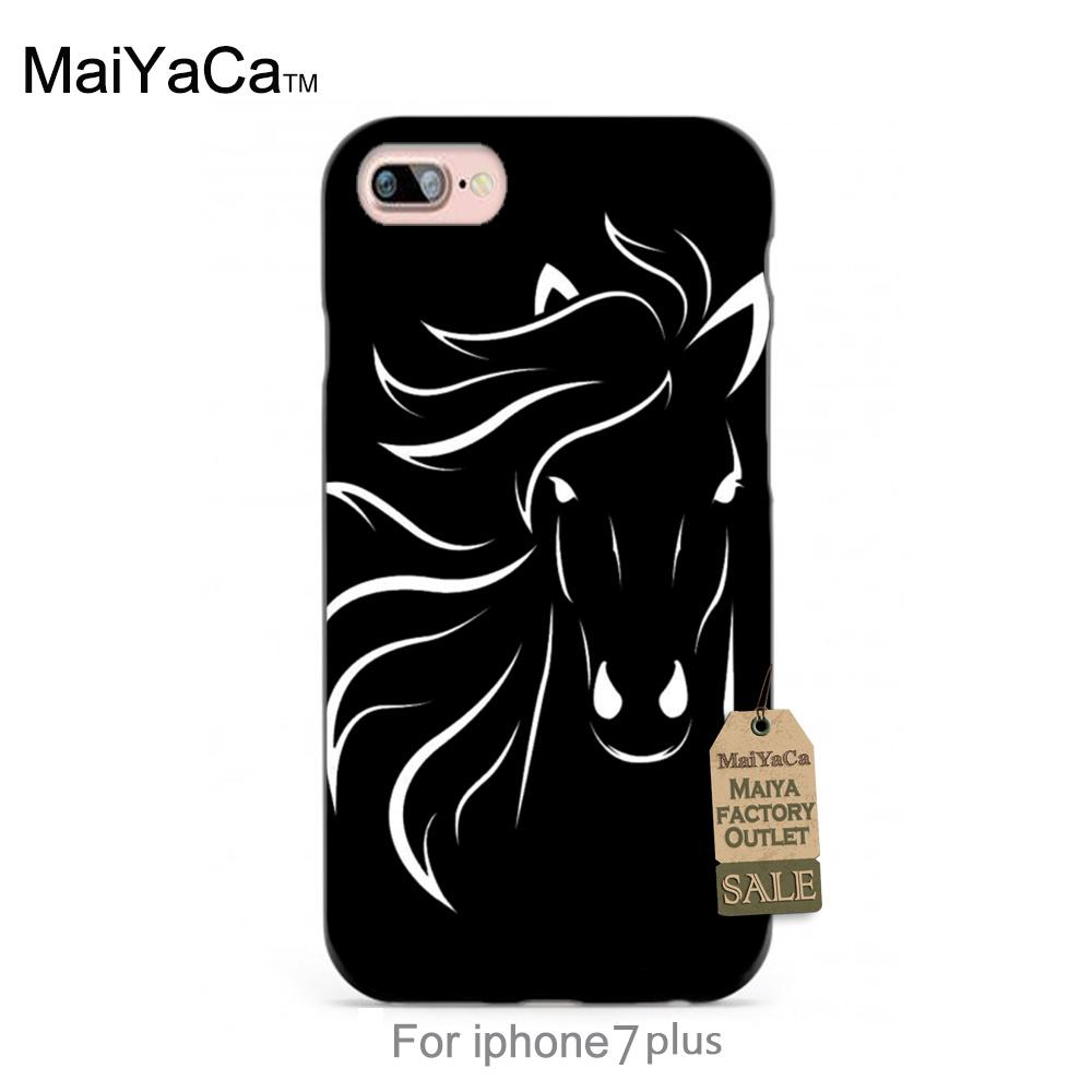 Running black horse black tpu case for iphone 4s 5s 5c 6 6Plus 7 Plus case