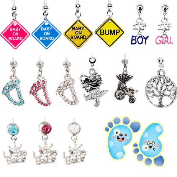 Us 19 99 15pcs Mix Designs Baby On Board Belly Button Rings Body Piercing Jewelry Pregnant Belly Rings Cute Sweet Bikini Pircing Ombligo On