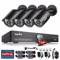 Sannce 4CH 1080P HD CCTV Security System 3 6mm Lens IR Cut Weatherproof Outdoor CCTV Survelliance