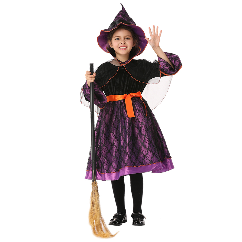 Children Witch Halloween Costumes for Kids Long Dress Mesh Girl Witch Cosplay Fancy Show Dress Girls Witch Performance Clothes 4pcs gothic halloween artificial devil vampire teeth cosplay prop for fancy ball party show