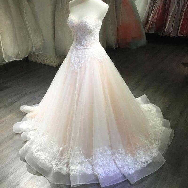 Light Pink Retro Elegant Wedding Dress Sexy Tube Top White Lace Applique Dress Exquisite Bridal Wedding Dresses Custom Size