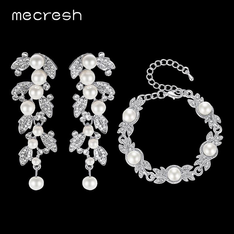 Msl197 Exquisite SchöN Mecresh Simulierte Perle Armband Ohrringe Sets Blatt Klarem Kristall Braut Hochzeit Schmuck-sets Für Party Weihnachten Eh604 Verarbeitung In