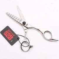 6 0 17cm Black Stone 440C Kasho Thinning Scissors Hair Scissors 8 Teeth Styling Tool Professional