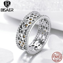 BISAER 925 Sterling Silver Bee Finger Rings for Women Honeycomb And Bee Cocktail Ring Wedding Authentic Silver Jewelry ECR391